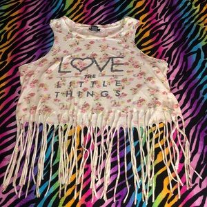 Rue 21 Graphic Love Floral Shred Crop Top Small